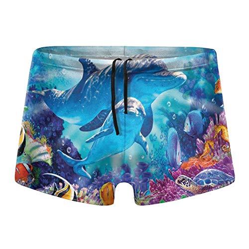 Traje de baño para hombre, diseño de delfín bajo el agua