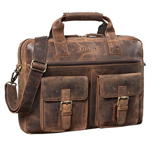 STILORD 'Frederico' Vintage Leder Aktentasche zum Umhängen für Herren Damen Laptoptasche 13,3 Zoll Umhängetasche Aufstecksystem Lehrertasche Echtleder, Farbe:Sepia - braun Plain