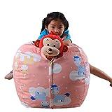 Bean Bag Chair,Storage Bean Bag,Kid Stuffed Animal Plush Basketball Style Toy Soft Pouch Fabric Chair (A, Size:Perimeter: 1.4m/55.1' Diameter: 40cm/16'in)
