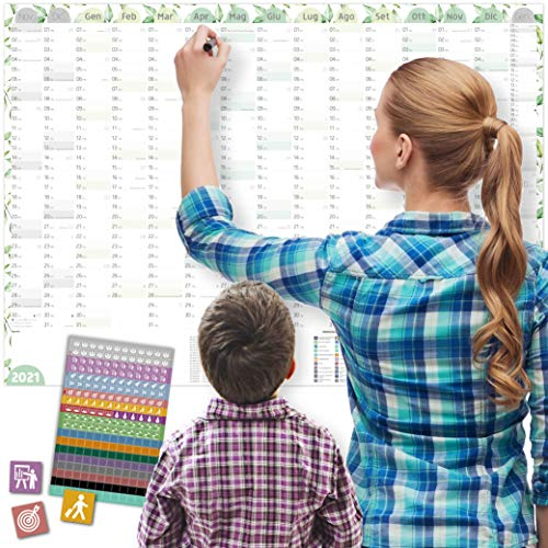 A1 Calendario da parete 2021 FLOREALE, DIN A1+ (89x63 cm) | 228 Sticker/Adesivi per tutte le occasioni e gli appuntamenti | Planner 16 mesi: Nov'20-Feb'22 | Famiglia, appartamenti condivisi, coppie