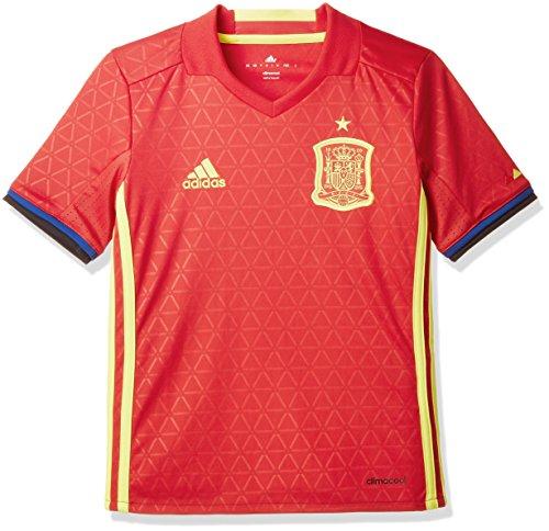 adidas Jungen Fußball/Heim-Trikot UEFA Euro 2016 Spanien Replica, Scarlet/Bright Yellow, 176