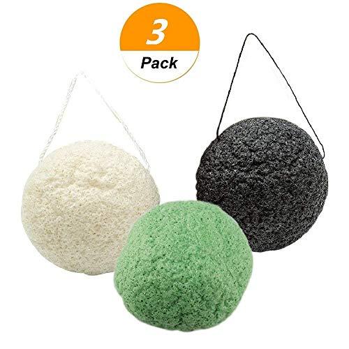 euwanyu 3Pcs Konjac Sponge Natural Deep Sponges Facial Cleansing Sponge Round Shape
