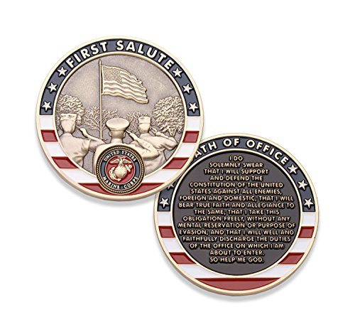 Marine Corps First Salute Challenge Coin - USMC Challenge Coin - Amazing US Marine Corps Military Coin - Designed by Marines for Marines!