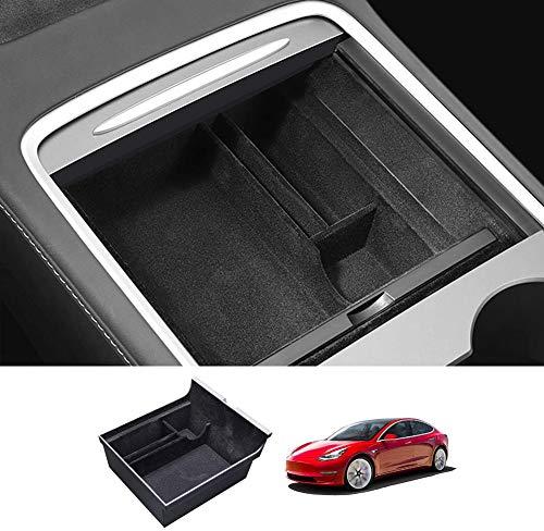 Tesla Model 3 2021 - Reposabrazos de almacenamiento para consola central del coche, multifunción, guantera, caja de almacenamiento para el coche, organizador interior con monedas y gafas de so