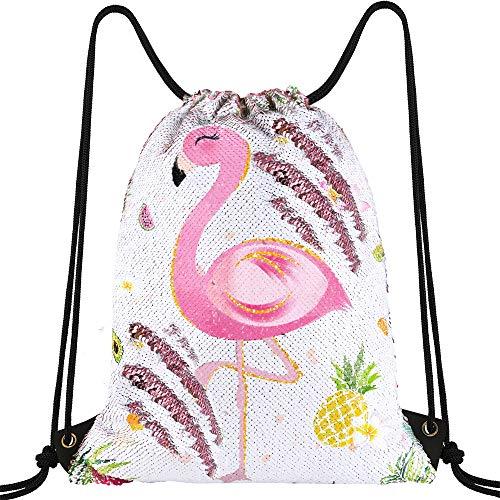 WERNNSAI Pailletten Flamingo Turnbeutel - 35 × 45cm Rosa Meerjungfrau Tanz Taschen Kordelzug Rucksack für Mädchen Geburtstags Weihnachts Geschenk Turnbeutel Schule Sport Yoga Gym Sack Beutel Tüte