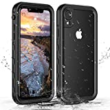 Janazan iPhone XR Waterproof Case, 360 Full Body Clear Protective Case with Built-in Screen Protector, Waterproof Shockproof Snowproof Dustproof for iPhone Xr (Black/Clear)