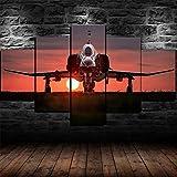 Leinwandbild F-4 Phantom II Militärflugzeug Modulare Bilder 5 Stück Leinwand Bilder Kunstdruck Wanddeko modern Wandbilder Wand Aufhängen Mit Rahmen