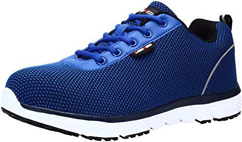 LARNMERN Zapatos de Seguridad Hombres LM30 S1 SRC Zapatillas de Trabajo con Punta de Acero Ultra Liviano Reflectivo Transpirable(43 EU,Azul Marino)
