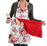 COTONOBLE Kitchen Apron for Woman with 2 Turkish Towels, Cooking Apron for Women with Pocket, Made in Turkey
