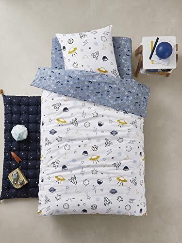 Vertbaudet Parure Housse de Couette + taie d'oreiller Enfant Cosmos Bleu/Multicolore 140X200 - TAIE 63X63