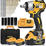 UVOL Cordless Impact Wrench with toolbox, 1/2 Inch Chuck, Brushless Motor Battery Power Drill/Driver with 5 Sockets & 13 Driver Bits, Power Impact Wrench with 2 Batteries & Charger, 21V/4.0Ah (BX8501)