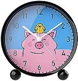 dh-13 Reloj despertador creativo lindo de la impresión de la historieta linda mini silencio pequeña alarma electrónica, reloj despertador del cerdo, alcancía