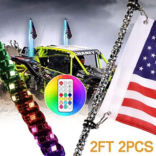 2Pcs 2ft Spiral RGB Led Whip Light with Flag Pole RF Remote Control Flag Pole Light Chasing Light Lighted Antenna Whips for Utv ATV Polaris RZR Dune Buggy Offroad Truck