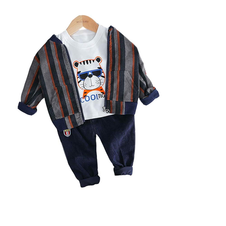 Milkiwai ボーイズ トレーナー 3点セット (シャツ+ジャケット+ロングパンツ) ジャージ 縦縞 レイヤード スポーティ size 80 (グレー)