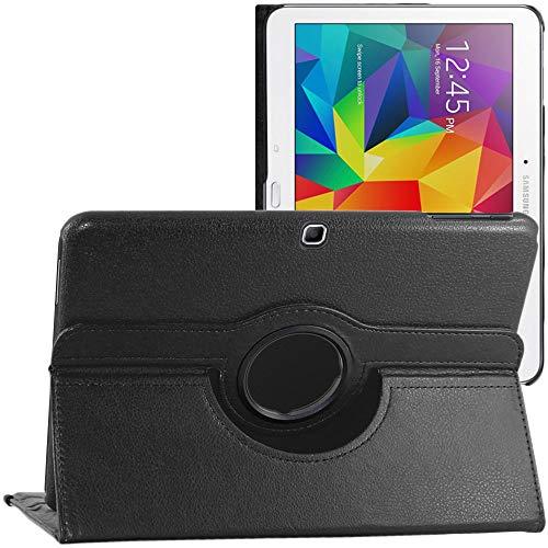 ebestStar - kompatibel mit Samsung Galaxy Tab 4 10.1 Hülle SM-T530, T533 T531 T535 Rotierend Schutzhülle Etui, Schutz Hülle Ständer, Rotating Cover, Schwarz [Tab: 243.4x176.4x8mm 10.1