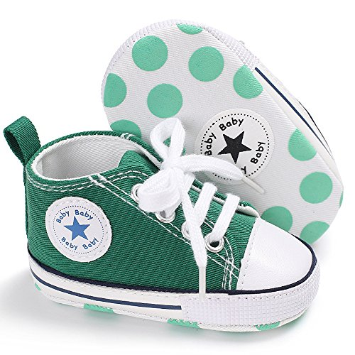 Baby Girls Boys Canvas Shoes Soft Sole Toddler First Walker Infant High-Top Ankle Sneakers Newborn Crib Shoes (S: 4.25 inch(0-6 Months), A-Green)