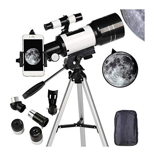 DZHTSWD-Teleskop for Erwachsene, 70mm Teleskop for Anfänger und Kinder, Refraktor for das Betrachten von Mond sternengazing Outdoor-Aktivitäten Stativ und Smartphone