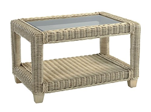 Desser Burford Coffee Table with Storage Shelf – Glass Top Table with Natural Wicker Cane Frame Indoor Conservatory or Living Room Furniture - H47cm x W75cm x D60cm