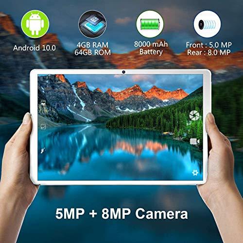 Tablet 10,1Zoll GOODTEL Android 10.0 Quad Core, mit 4GB RAM + 64GB ROM, Dual Kamera/ SIM/ Sprecher, IPS HD (1280 x 800), WiFi   GPS   Typ-C   Bluetooth 4.0   mit Bluetooth Tastatur und Maus - Golden
