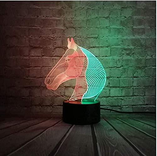 Luz de la noche de color mezclado 3D lámpara noche luz animal caballo niños s decoración proyección LED lámpara de mesa lava luminaria accesorios escritorio lamparas