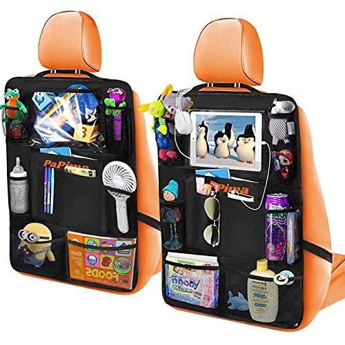 Proteggi Sedili Auto Bambini 2 Pezzi, Organizer Auto Protezione Sedile Auto Bambini con 20 Tasche incluse Tasche Trasparente per iPad Tablet 10,5'', Portaoggetti Auto per Pannolini Giocattoli
