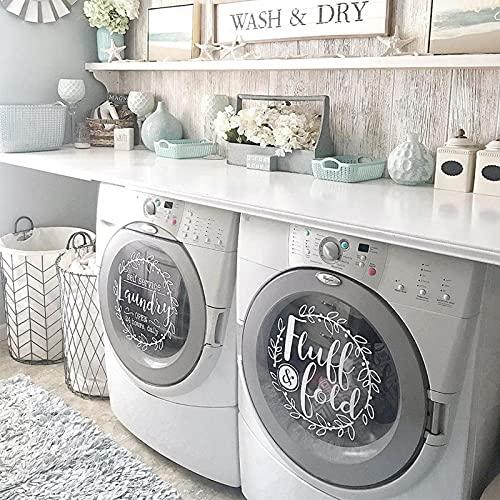 Decoración de lavandería, autoservicio, adhesivo de vinilo con pelusa y pliegue para lavandería, lavadora de 13,5 pulgadas   Secadora   Adhesivo de vinilo para pared E828