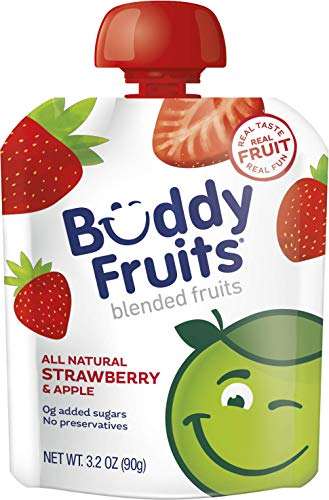Buddy Fruits Pure Blended Fruit To Go Apple and Strawberry Applesauce   100% Real Fruit   No Sugar, Non GMO, Vegan, Gluten Free, No Preservatives, BPA Free , Certified Kosher   3.2oz Pouch 24 Pack