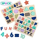 Wooden Puzzles for Toddlers, Wood Alphabet ABC Number and Shape Puzzles Preschool Early