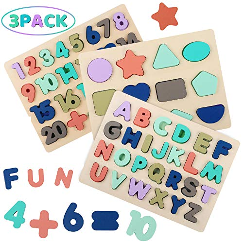 Wooden Alphabet Number Shape Puzzles for Toddlers Kesletney Wood ABC Puzzles Number Blocks for Kids Early Education Learning Puzzle Toys for Boys Girls Ages 3 4 5 6 Set of 3