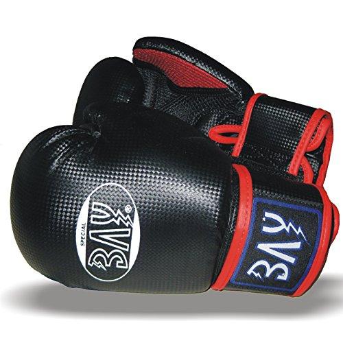 BAY fresh mesh Boxhandschuhe schwarz ROT 10 Unzen mit Netz-Gewebe, Box-Handschuhe, Carbon Look, UZ OZ, PU-Leder, Profi Delux, Kickboxen, Boxen, Thaiboxen, Muay Thai, HERREN DAMEN Kinder Jugendliche Junioren Mädchen