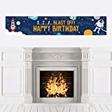 Big Dot of Happiness Blast Off to Outer Space - Rocket Ship Happy Birthday Decorations Party Banner