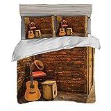 Funda nórdica Tamaño King (200 x 200 cm) con 2 fundas de almohada Conjunto de musica Juegos de cama de microfibra Instrumentos de música en el escenario de madera en el pub Beverage Café Counter Bar D