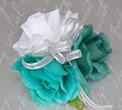 Wrist Corsage - Teal, White and Jade Roses