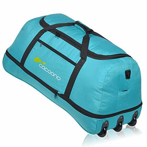 XXL Rollenreisetasche COCOONO 100-135 Liter Volumen Reisetasche faltbar Trolley Koffer Storm Tasche (Petrol)