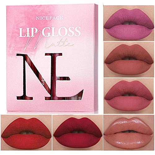 6Pcs Matte Non-Stick Cup Makeup lipstick Set for Women Girls, Professional Long Lasting Waterproof Superstay Nude Red Color Velvet Lip Gloss (B)