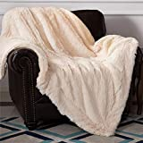 Bedsure Faux Fur Reversible Sherpa Throw Blanket for Sofa, Couch and Bed - Super Soft Fuzzy Fleece Blanket for Outdoor, Indoor, Camping, Gifts (90x90 inches, Ivory)