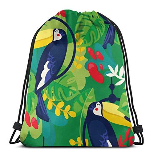 Molelanki Tukan und Tropische Pflanzen Muster Kordelzug Rucksack Gym Tanztaschen Schulter Reisetaschen Geburtstagsgeschenk 36 x 43cm