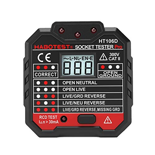 Montloxs Tester de enchufe, Advanced RCD Electric Socket Tester Cable de tierra...