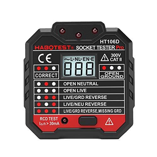 Montloxs Tester de enchufe, Advanced RCD Electric Socket Tester Cable de tierra automático neutro Test circuito Circuit Polarity Detector Enchufe de pared Breaker Finder Test de dispersión eléctrica