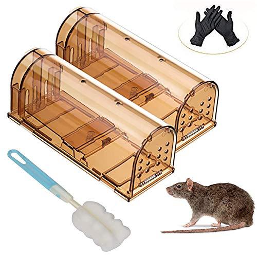 Mausefalle Lebend, 2er Wiederverwendbare Haustierfreundliche Falle No-Kill-Maus Transparent mit Luftlöcher, Tierfreundliche Rattenfalle für Küche, Haus, Garten Umweltbewusst Kastenfalle Mäuse Fangen