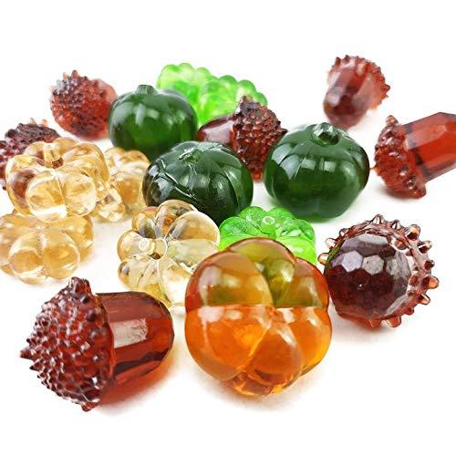 Fall Decor Mini Artificial Acrylic Pumpkin Gems Table Scatters Acrylic Acorn Plastic Pine Cone for Harvest Decor,Autumn,Thanksgiving,Season Decoration