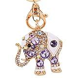 Cute Elephant Keychain Sparkling Crystal Rhinestones Keyring Pendant for Women Bag Charm (Multi-Color)