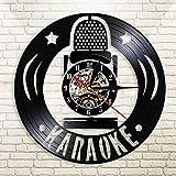 HIDFQY Reloj de Pared silencioso Karaoke Micrófono Acrílico Grabar Reloj de Pared...