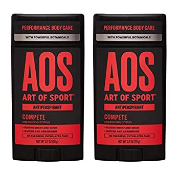 Art of Sport Men s Antiperspirant Deodorant  2-Pack  - Compete Scent - Antiperspirant for Men with Natural Botanicals Matcha and Arrowroot - Energizing Citrus Fragrance - Made for Athletes - 2.7oz