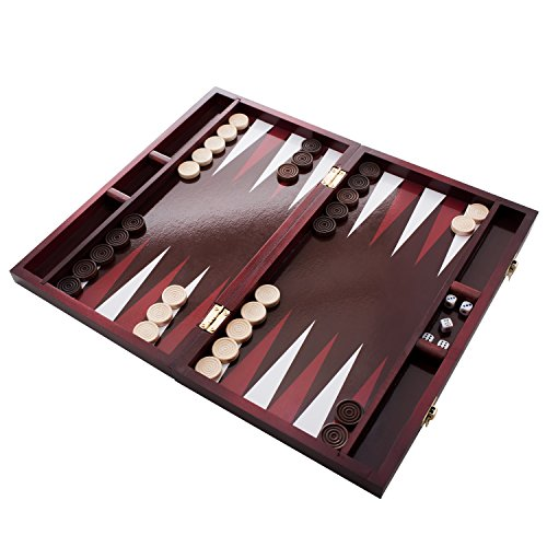 """Backgammon Set by Classic 14"""" Folding Wooden Board Game with 30 Checkers, Doubling Cube, Dice"""