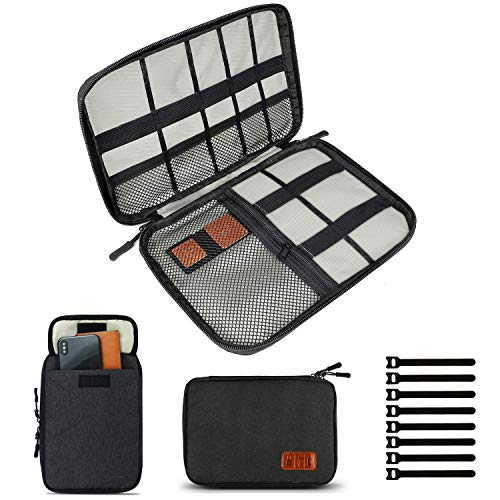 Travel Cable Organizer Bag, Electronics Accessories Carry Cases Portable Cord Organizer Bag for Cable, Charger, Phone, USB, SD Card ,with 8pcs Cable Ties (Black)