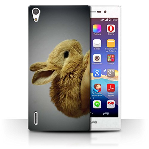 eSwish Carcasa/Funda Dura para el Huawei Ascend P7 LTE/Serie: Lindos Animales de Compañía - Conejito/Conejo