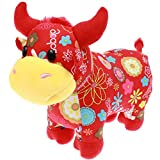 Eshylala 2021 New Year Chinese Zodiac Ox Plush Toy Red Cattle Mascot Plush Lucky Doll Ox Plush Stuffed Animal Plush for Hanging Spring Festival Ornaments, 11 Inch