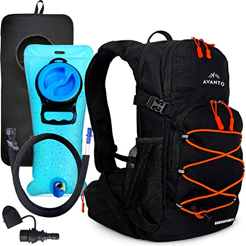 18L Water Backpack for Hiking, Lightweight, Military Grade 600d Ripstop with Waterproof Layer, Hiking Backpack with Water Bladder 2L, All Year Round Hydration Pack, Secure Fit for Kids and Adults