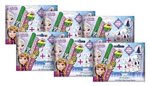 Craze 6er Bundle Eiskönigin Armbänder Kinderschmuck 17142 3D Slap Snap Bands Disney Frozen, 6 Foilbags, Sortiert, bunt